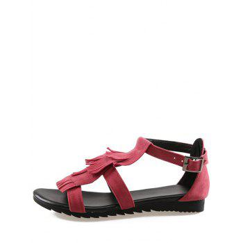 Plus Size Casual Fringes Strappy Sandals - CHERRY RED 39