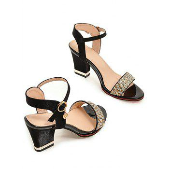 Plus Size Chunky Heel Crystals Prom Sandals - BLACK 43