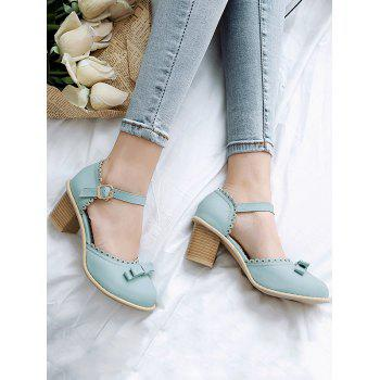 Plus Size Block Heel Bowknot Block Heel Pumps - CORAL BLUE 39
