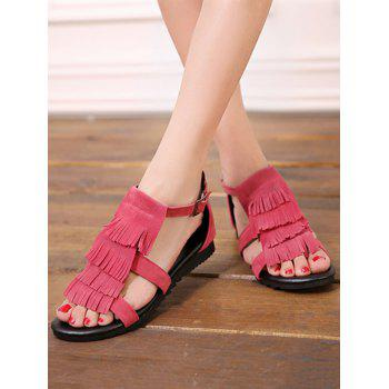 Plus Size Casual Fringes Strappy Sandals - CHERRY RED 40