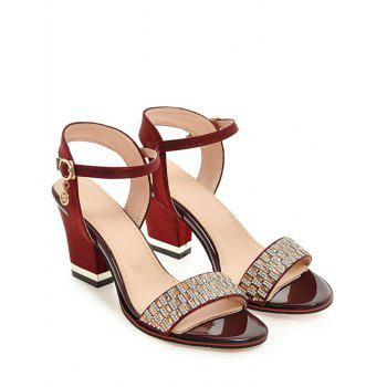 Plus Size Chunky Heel Crystals Prom Sandals - RED WINE 39
