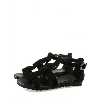 Plus Size Casual Fringes Strappy Sandals - BLACK 41