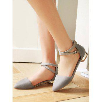 Plus Size Cross Strap Low Heel Pumps - BATTLESHIP GRAY 42