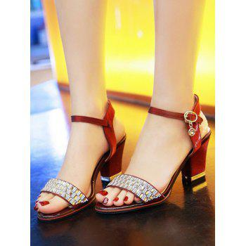 Plus Size Chunky Heel Crystals Prom Sandals - RED WINE 38