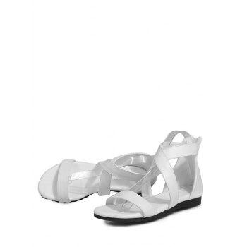 Plus Size Crisscross Minimalist Sandals - WHITE 39