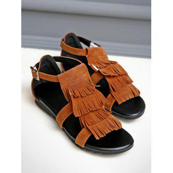 Plus Size Casual Fringes Strappy Sandals - LIGHT BROWN 41