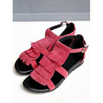 Plus Size Casual Fringes Strappy Sandals - CHERRY RED 38