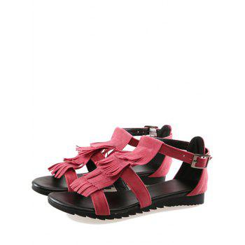 Plus Size Casual Fringes Strappy Sandals - CHERRY RED 37