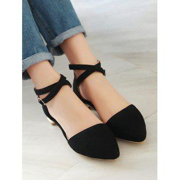 Plus Size Cross Strap Low Heel Pumps - BLACK 37