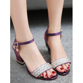 Plus Size Chunky Heel Crystals Prom Sandals - MEDIUM VIOLET RED 38