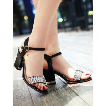 Plus Size Chunky Heel Crystals Prom Sandals - BLACK 37
