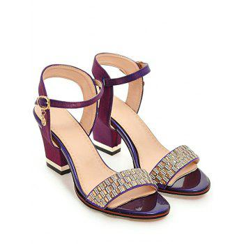 Plus Size Chunky Heel Crystals Prom Sandals - MEDIUM VIOLET RED 40