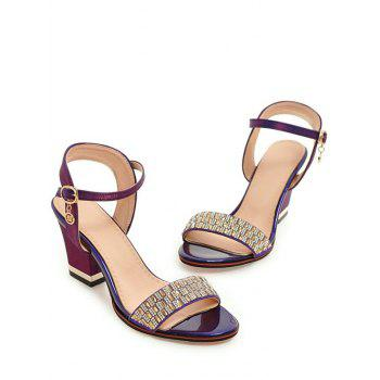 Plus Size Chunky Heel Crystals Prom Sandals - MEDIUM VIOLET RED 42