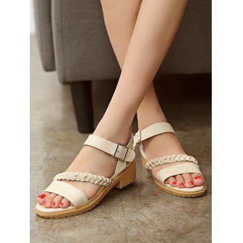 Plus Size Buckled Strap Braid Sweet Sandals - APRICOT 39