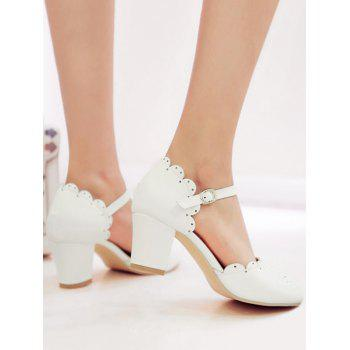 Plus Size Scallop Chunky Heel Ankle Wrap Pumps - WHITE 37