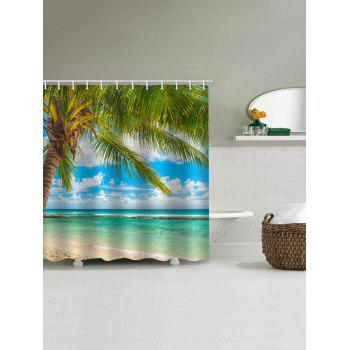 Palm Tree Seaside Print Waterproof Shower Curtain - multicolor W71 INCH * L71 INCH