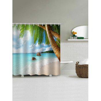 Seaside Palm Tree Print Waterproof Shower Curtain - multicolor W71 INCH * L79 INCH