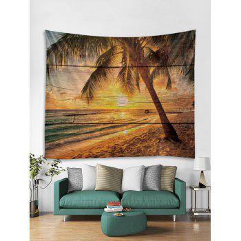 Sunset Beach Palm Tree Print Tapestry Wall Art - multicolor W71 INCH * L71 INCH