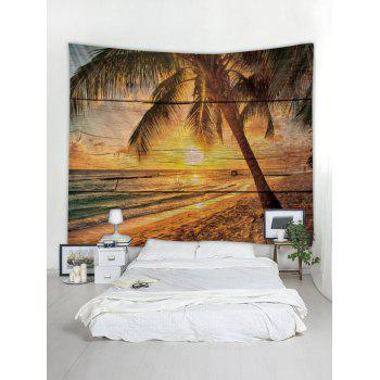 Sunset Beach Palm Tree Print Tapestry Wall Art - multicolor W91 INCH * L71 INCH