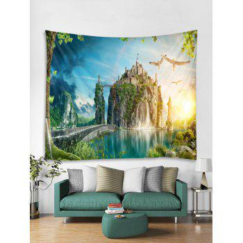 Mountain Top Castle Print Tapestry Wall Art - multicolor W71 INCH * L71 INCH