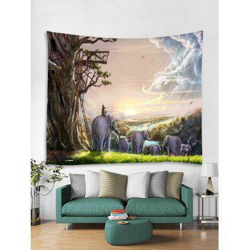 Sunrise Elephant Print Tapestry Wall Art - multicolor W59 INCH * L51 INCH