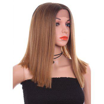 Medium Center Parting Straight Colormix Lace Front Synthetic Wig - CAMEL BROWN 14INCH