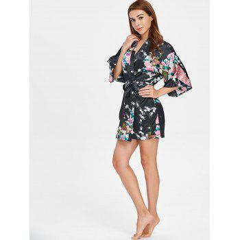 Three Quarter Sleeve Short Floral Robe - BLACK 2XL