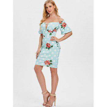 Empire Waist Polka Dot Bodycon Dress - LIGHT SKY BLUE L