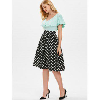Polka Dot Print Flounce Dress - BLACK XL