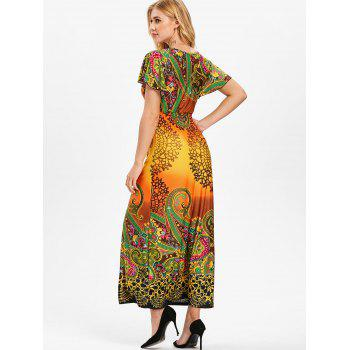 Plunge Tribal Print Empire Waist Maxi Dress - multicolor A L