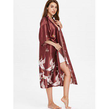 Drop Shoulder Crane Sleeping Robe - RED WINE M