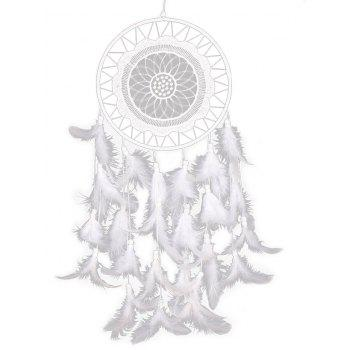 Wall Hanging Handmade Feathers Dream Catcher - WHITE 60*20CM