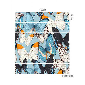 Butterflies Decorative Stair Stickers - multicolor 6PCS:39*7 INCH( NO FRAME )