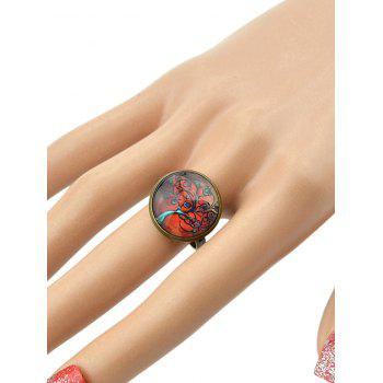 Tree Of Life Glass Ring - RED ONE-SIZE