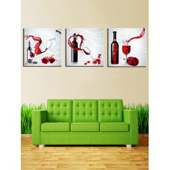 3Pcs Red Wine Flower Print Split Canvas Wall Art - multicolor 3PCS:20*20 INCH( NO FRAME )