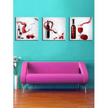 3Pcs Red Wine Flower Print Split Canvas Wall Art - multicolor 3PCS:24*24 INCH( NO FRAME )