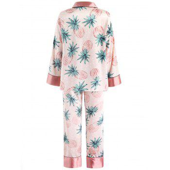 Palm Leaf Pattern Satin Nightgown Set - LIGHT PINK XL