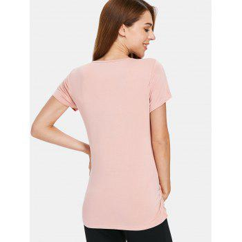 Short Sleeve Elastic Maternity Sleep Top - LIGHT PINK XL