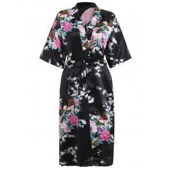 Flower Printing Sleeping Robe with Belt - BLACK S