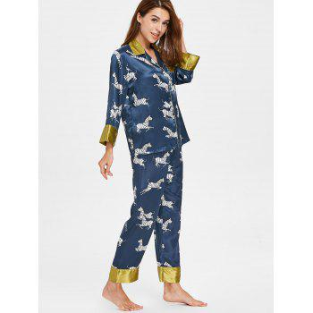 Zebra Print Sleepwear Set - CADETBLUE M