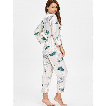 Print Cami Top Nightgown Set - BLANCHED ALMOND L