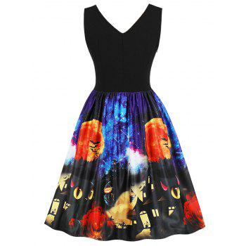 Halloween Retro Fit and Flare Dress - BLACK 2XL