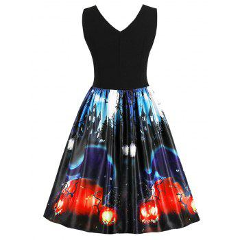 Halloween Retro Pin Up Dress - BLACK 2XL