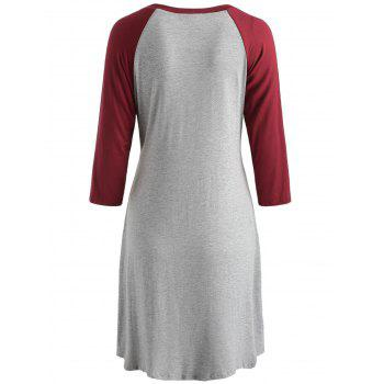 Round Collar Two Tone Maternity Sleep Dress - LAVA RED M