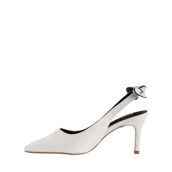 Chic Bowknot Pointed Toe Slingback Pompes - Blanc 37