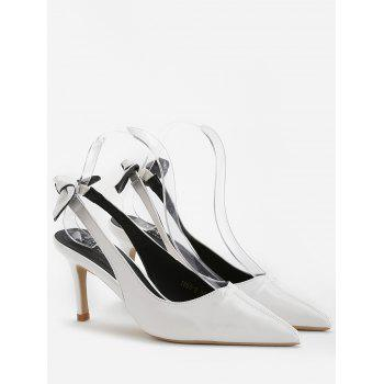Chic Bowknot Pointed Toe Slingback Pumps - WHITE 38
