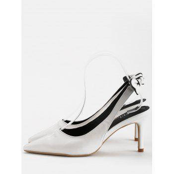 Chic Bowknot Pointed Toe Slingback Pumps - WHITE 39