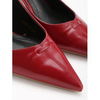 Chic Bowknot Pointed Toe Slingback Pumps - CHESTNUT RED 35