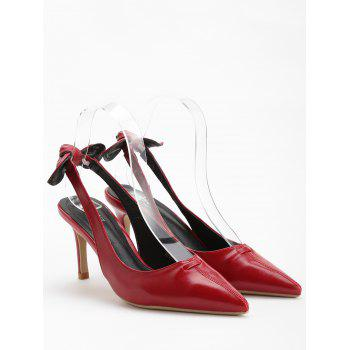 Chic Bowknot Pointed Toe Slingback Pumps - CHESTNUT RED 38