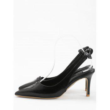 Chic Bowknot Pointed Toe Slingback Pumps - BLACK 39